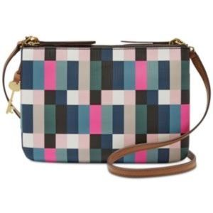 Fossil Devon Small Crossbody Pixel Grid